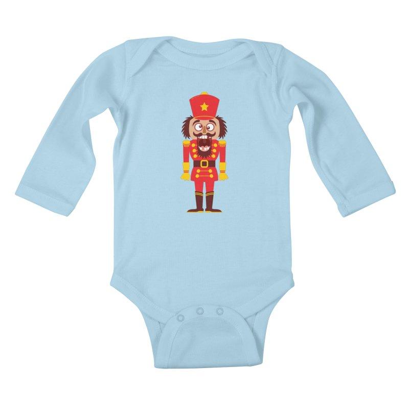 A Christmas nutcracker breaks its teeth and goes nuts Kids Baby Longsleeve Bodysuit by Zoo&co's Artist Shop