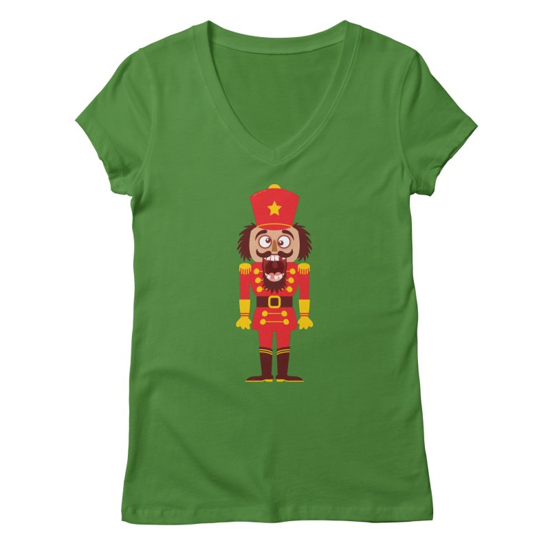 A Christmas nutcracker breaks its teeth and goes nuts Women's V-Neck by Zoo&co's Artist Shop