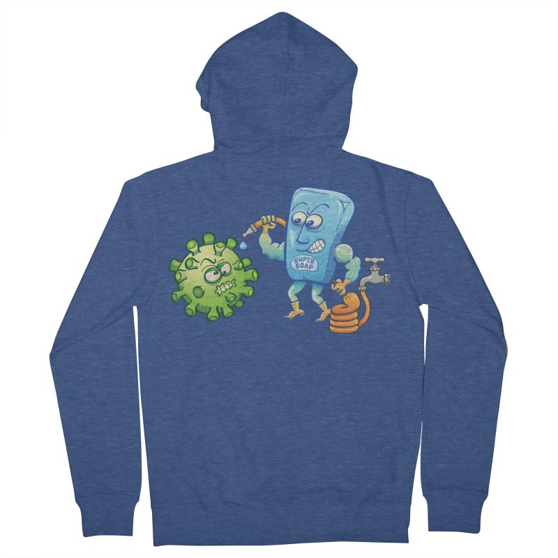 Soap and water are still the best way to fight coronavirus. Wash your hands! Men's Zip-Up Hoody by Zoo&co's Artist Shop