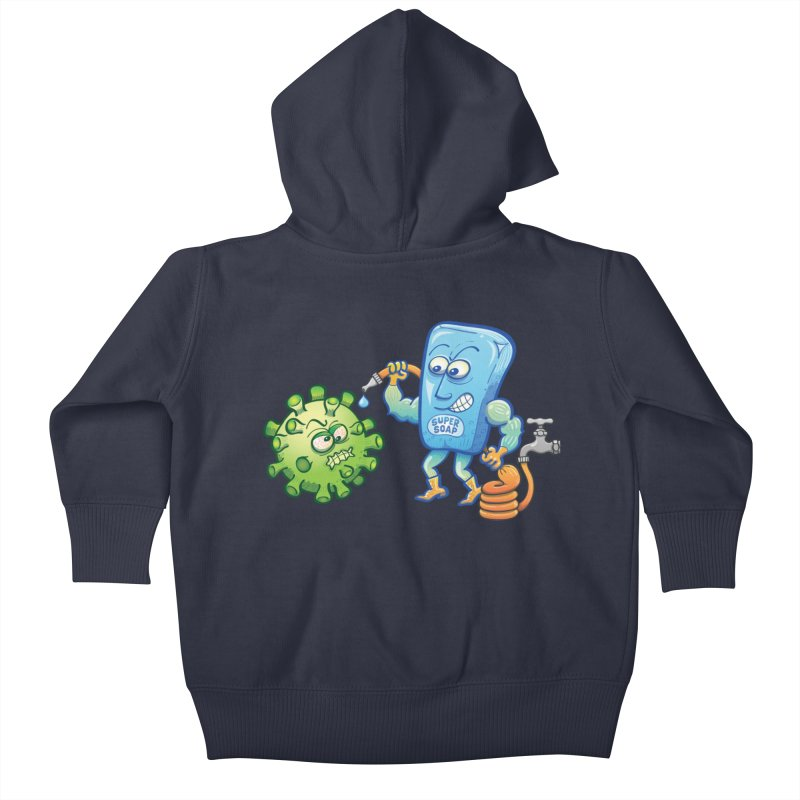 Soap and water are still the best way to fight coronavirus. Wash your hands! Kids Baby Zip-Up Hoody by Zoo&co's Artist Shop