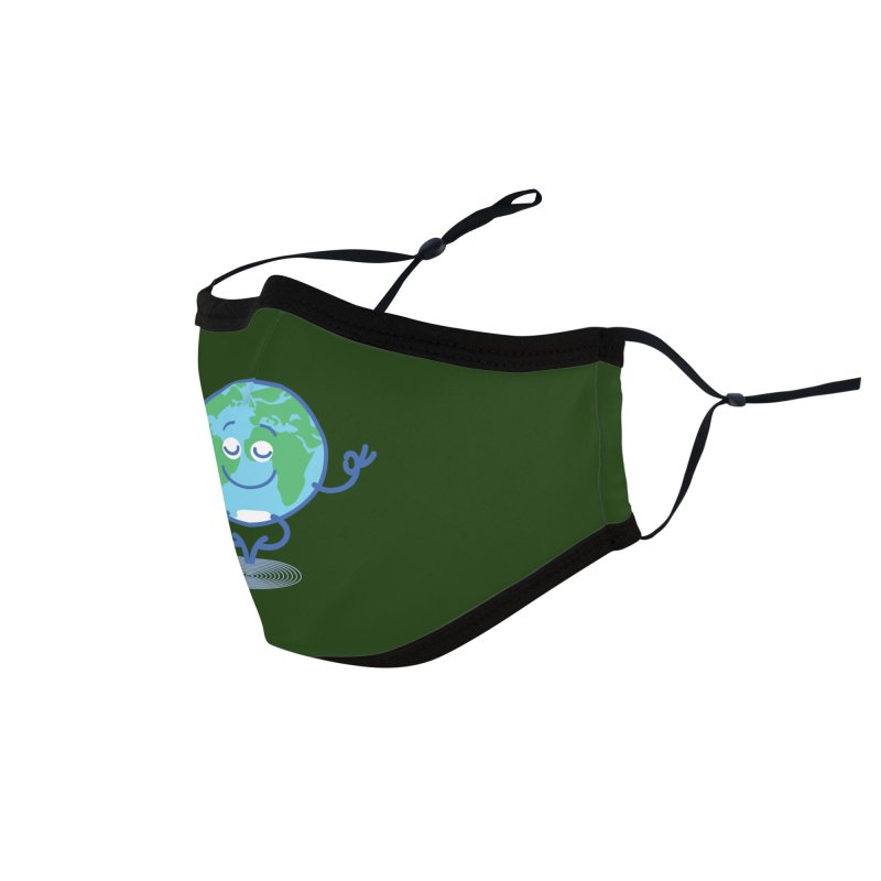 Joyful Planet Earth taking a peaceful time to meditate Accessories Face Mask by Zoo&co's Artist Shop
