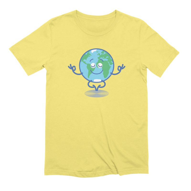 Joyful Planet Earth taking a peaceful time to meditate Men's T-Shirt by Zoo&co's Artist Shop