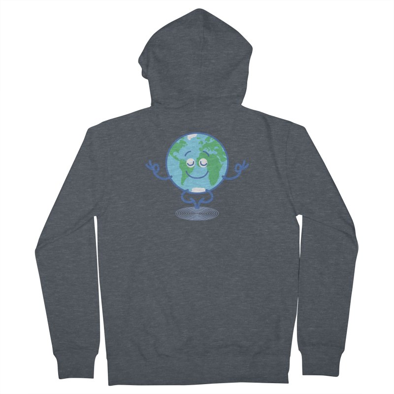 Joyful Planet Earth taking a peaceful time to meditate Men's Zip-Up Hoody by Zoo&co's Artist Shop