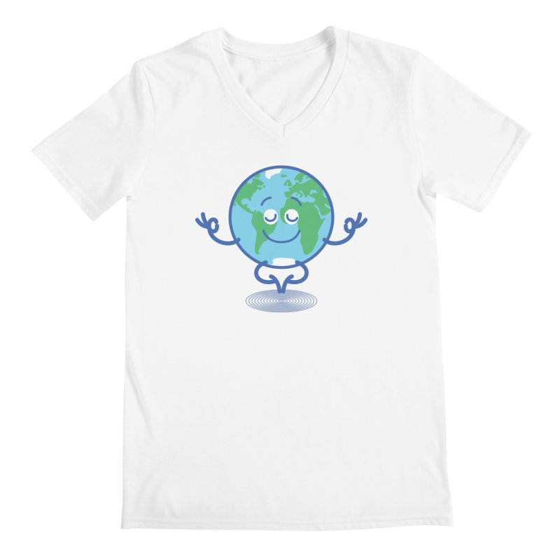 Joyful Planet Earth taking a peaceful time to meditate Men's V-Neck by Zoo&co's Artist Shop