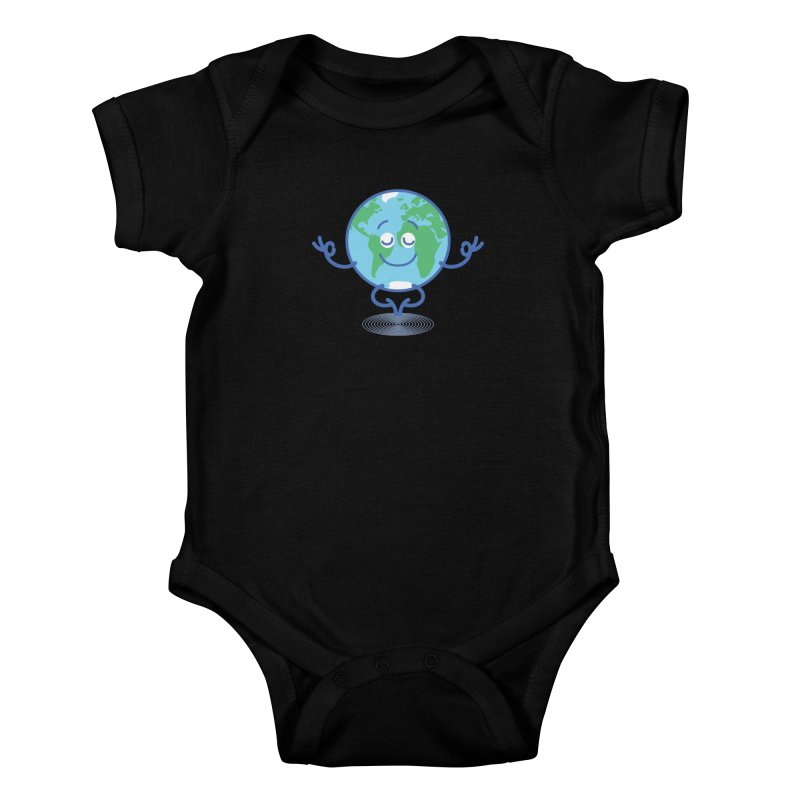 Joyful Planet Earth taking a peaceful time to meditate Kids Baby Bodysuit by Zoo&co's Artist Shop