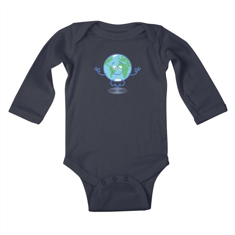 Joyful Planet Earth taking a peaceful time to meditate Kids Baby Longsleeve Bodysuit by Zoo&co's Artist Shop