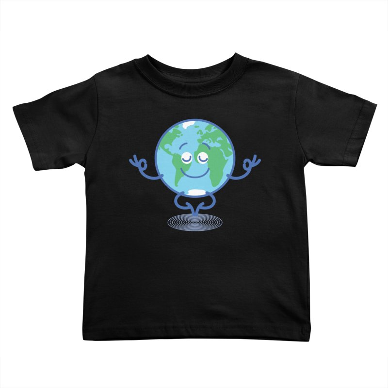 Joyful Planet Earth taking a peaceful time to meditate Kids Toddler T-Shirt by Zoo&co's Artist Shop
