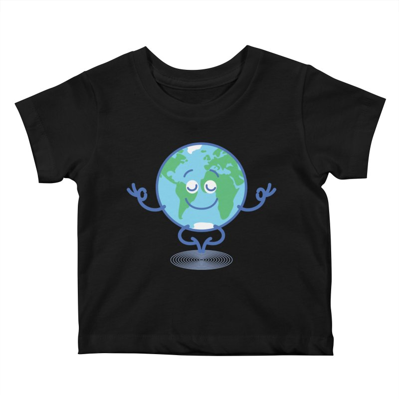 Joyful Planet Earth taking a peaceful time to meditate Kids Baby T-Shirt by Zoo&co's Artist Shop