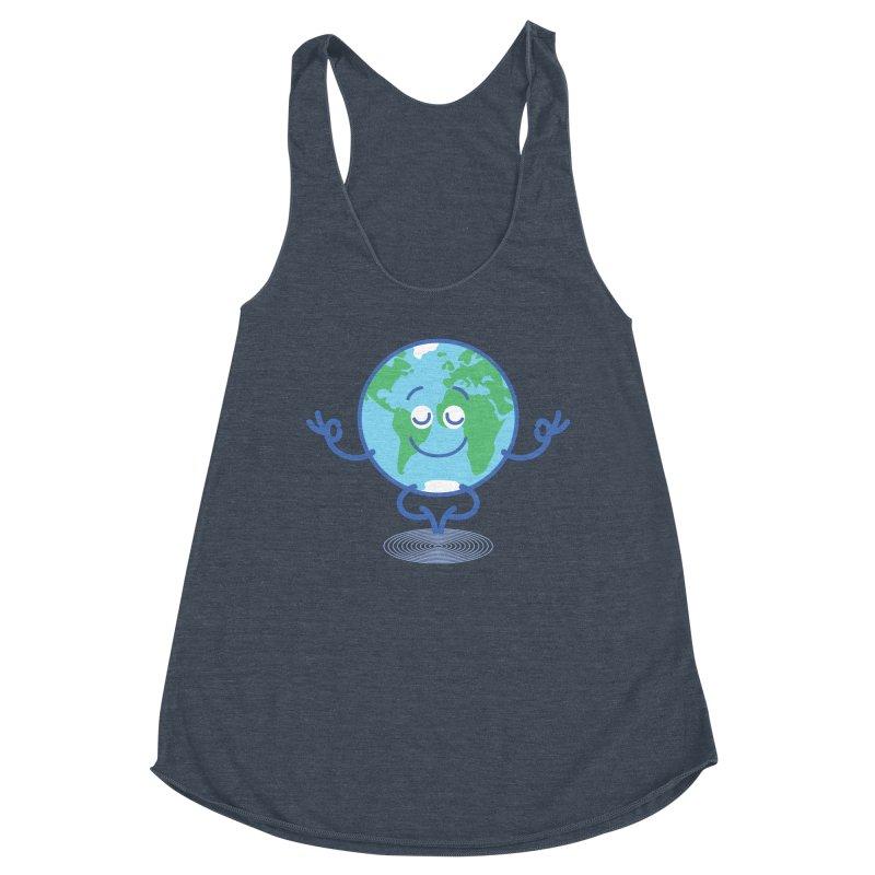 Joyful Planet Earth taking a peaceful time to meditate Women's Tank by Zoo&co's Artist Shop