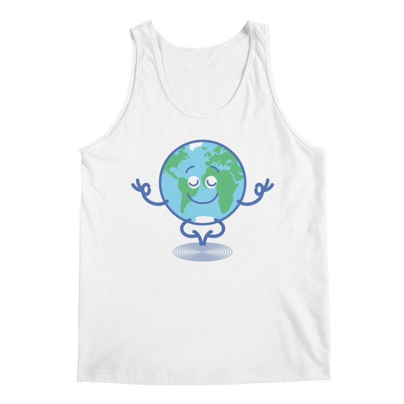 Joyful Planet Earth taking a peaceful time to meditate Men's Tank by Zoo&co's Artist Shop