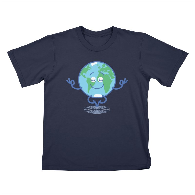 Joyful Planet Earth taking a peaceful time to meditate Kids T-Shirt by Zoo&co's Artist Shop