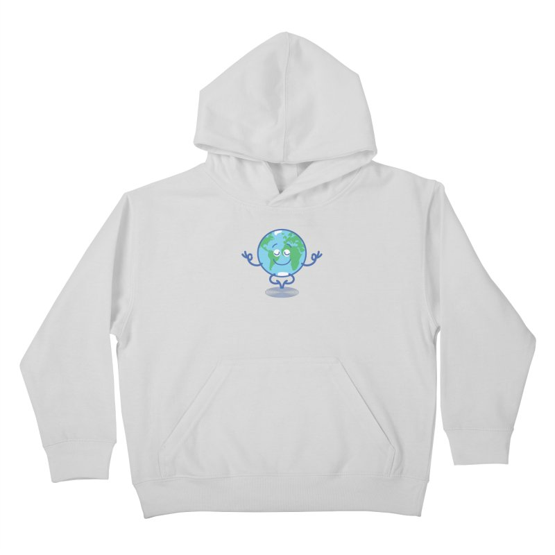 Joyful Planet Earth taking a peaceful time to meditate Kids Pullover Hoody by Zoo&co's Artist Shop