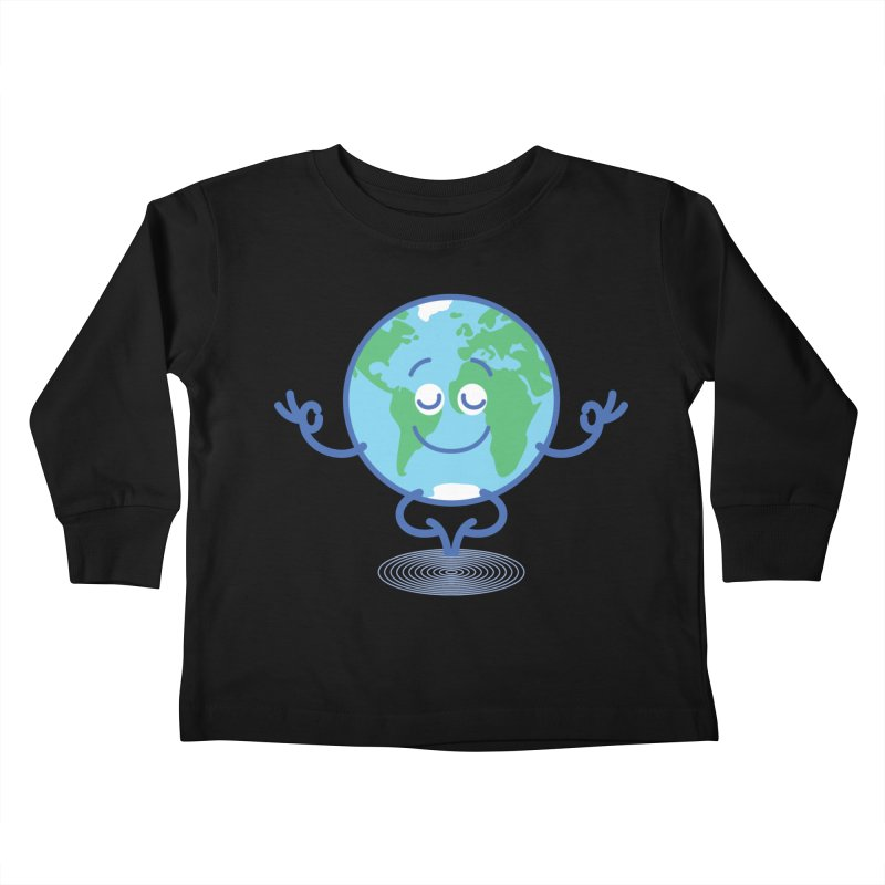 Joyful Planet Earth taking a peaceful time to meditate Kids Toddler Longsleeve T-Shirt by Zoo&co's Artist Shop