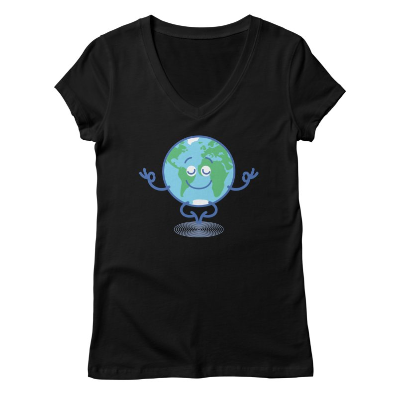 Joyful Planet Earth taking a peaceful time to meditate Women's V-Neck by Zoo&co's Artist Shop
