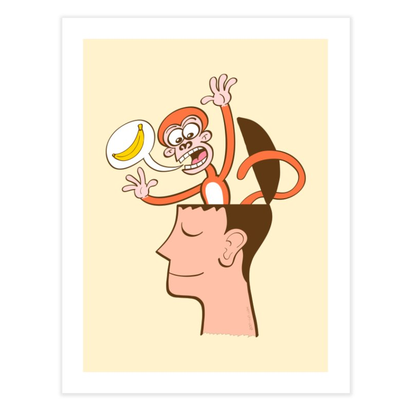 Mad monkey asking for bananas from inside the head of a man in meditation Home Fine Art Print by Zoo&co's Artist Shop