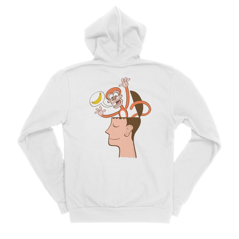 Mad monkey asking for bananas from inside the head of a man in meditation Men's Zip-Up Hoody by Zoo&co's Artist Shop