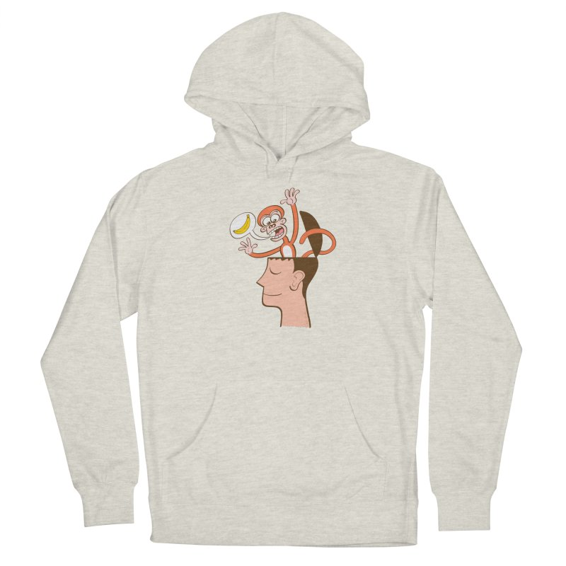 Mad monkey asking for bananas from inside the head of a man in meditation Women's Pullover Hoody by Zoo&co's Artist Shop