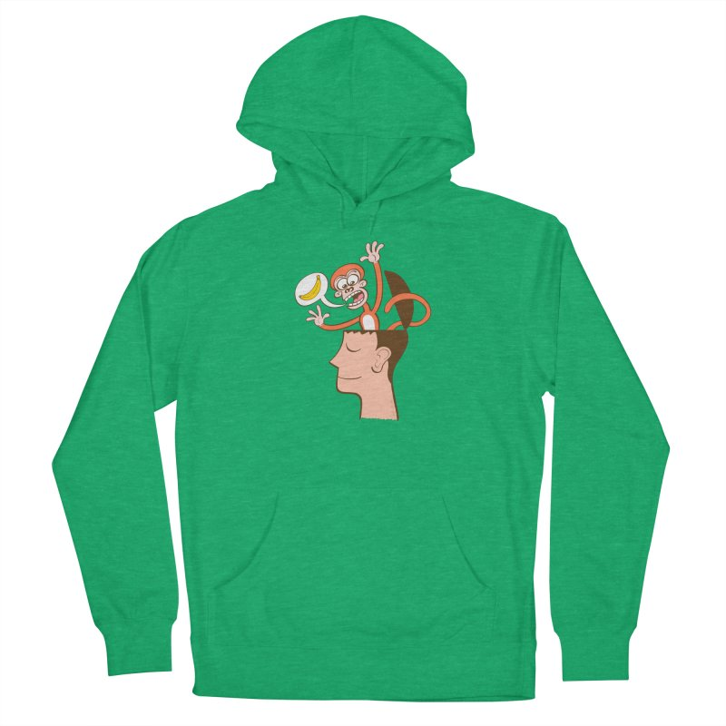 Mad monkey asking for bananas from inside the head of a man in meditation Men's Pullover Hoody by Zoo&co's Artist Shop