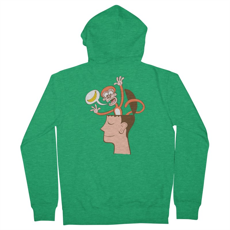 Mad monkey asking for bananas from inside the head of a man in meditation Women's Zip-Up Hoody by Zoo&co's Artist Shop