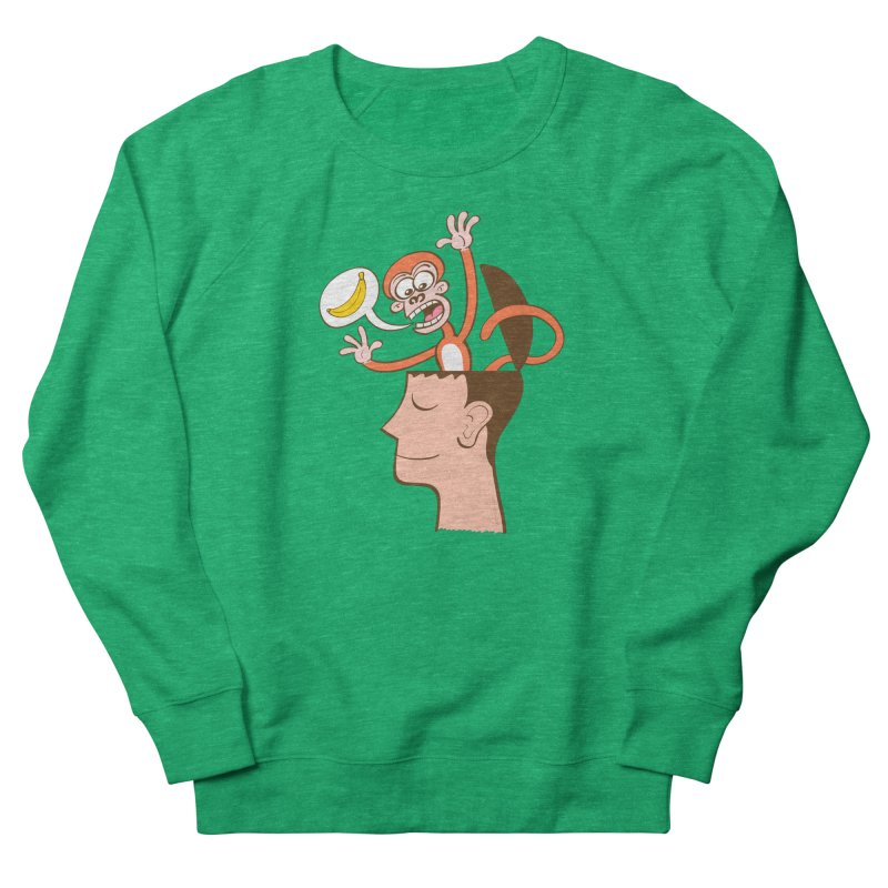 Mad monkey asking for bananas from inside the head of a man in meditation Women's Sweatshirt by Zoo&co's Artist Shop