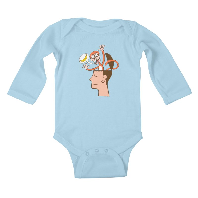 Mad monkey asking for bananas from inside the head of a man in meditation Kids Baby Longsleeve Bodysuit by Zoo&co's Artist Shop