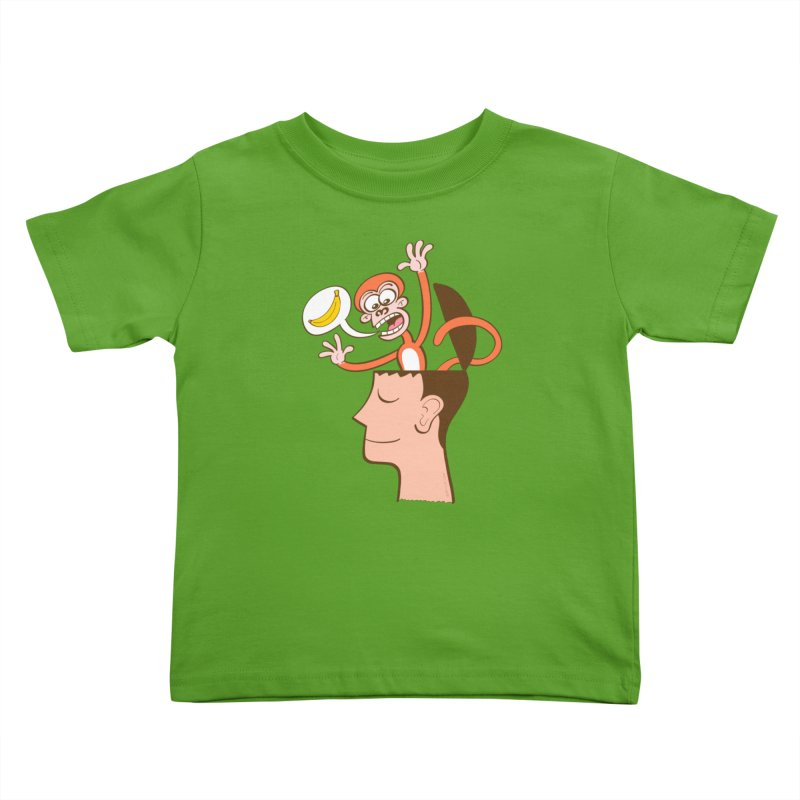 Mad monkey asking for bananas from inside the head of a man in meditation Kids Toddler T-Shirt by Zoo&co's Artist Shop