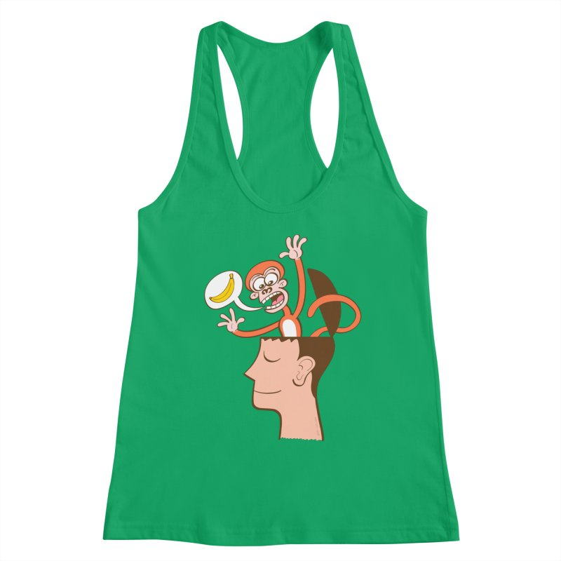 Mad monkey asking for bananas from inside the head of a man in meditation Women's Tank by Zoo&co's Artist Shop