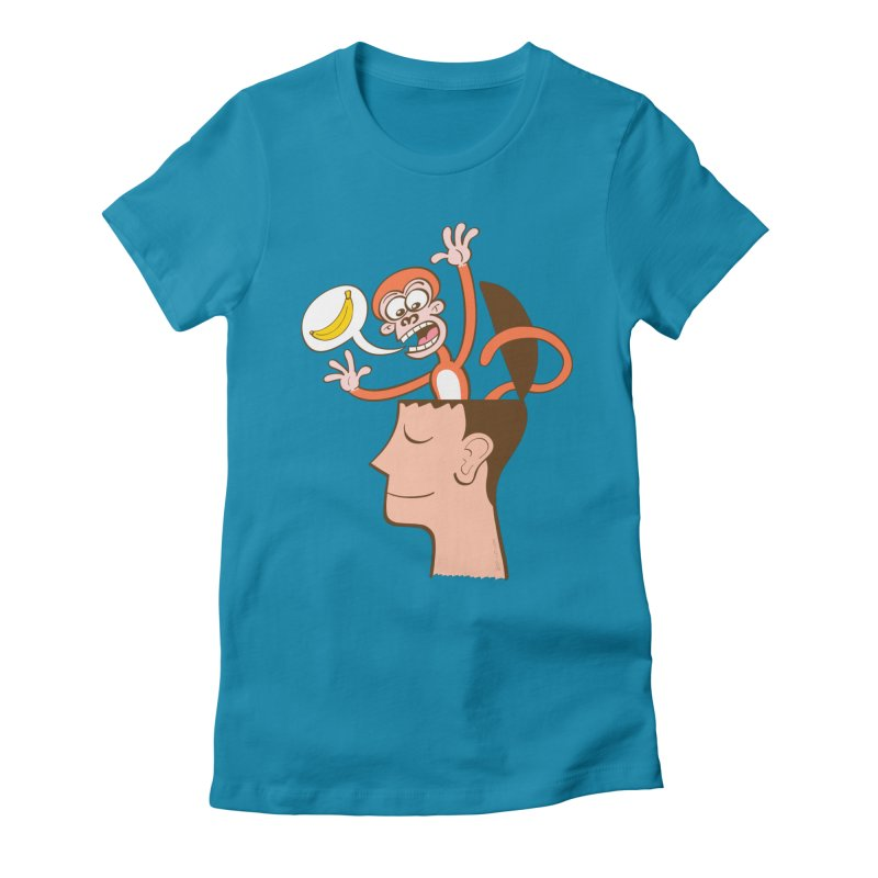 Mad monkey asking for bananas from inside the head of a man in meditation Women's T-Shirt by Zoo&co's Artist Shop