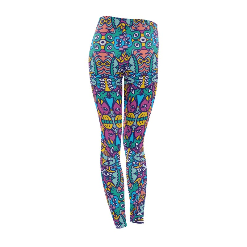 Crowd of aliens coming from a distant planet rich in doodle art style creatures Women's Bottoms by Zoo&co's Artist Shop