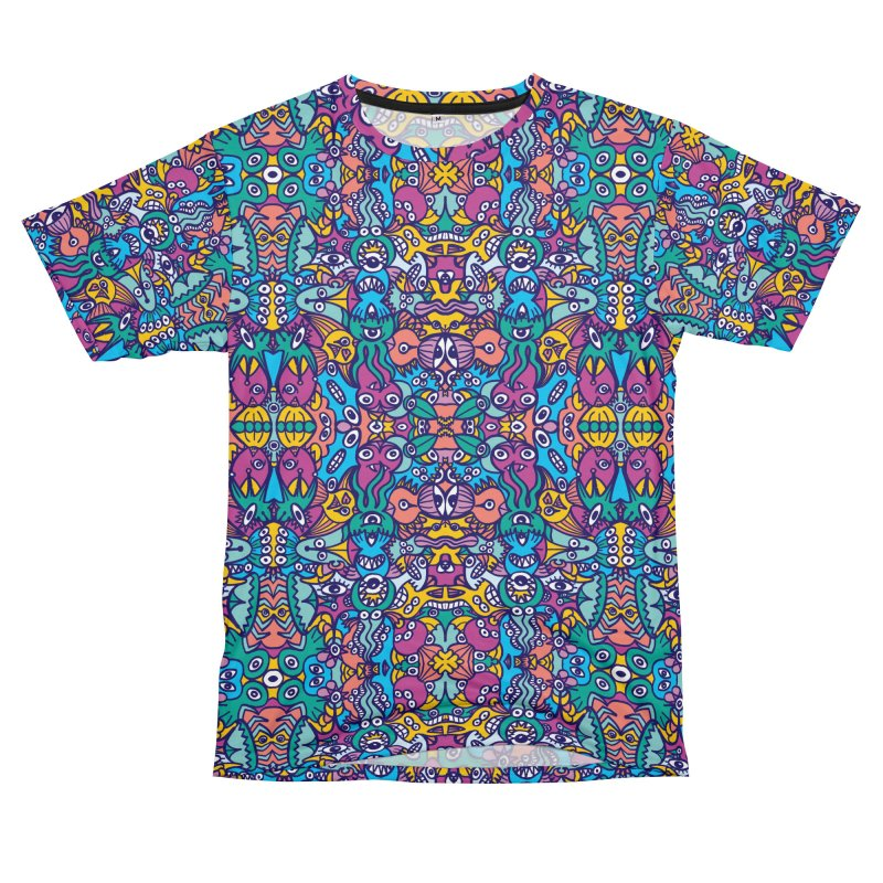 Crowd of aliens coming from a distant planet rich in doodle art style creatures Women's Cut & Sew by Zoo&co's Artist Shop