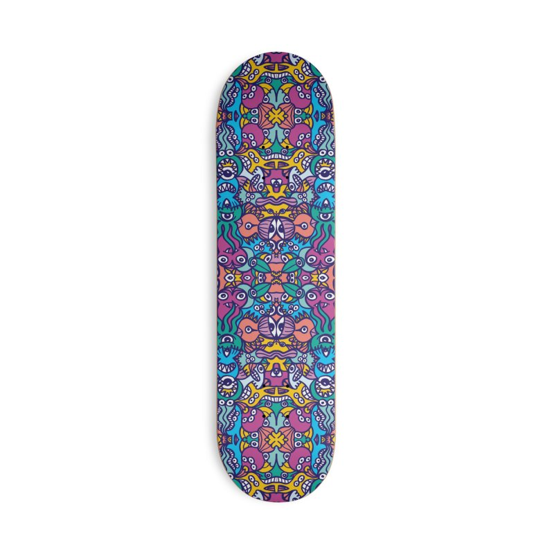 Crowd of aliens coming from a distant planet rich in doodle art style creatures Accessories Skateboard by Zoo&co's Artist Shop