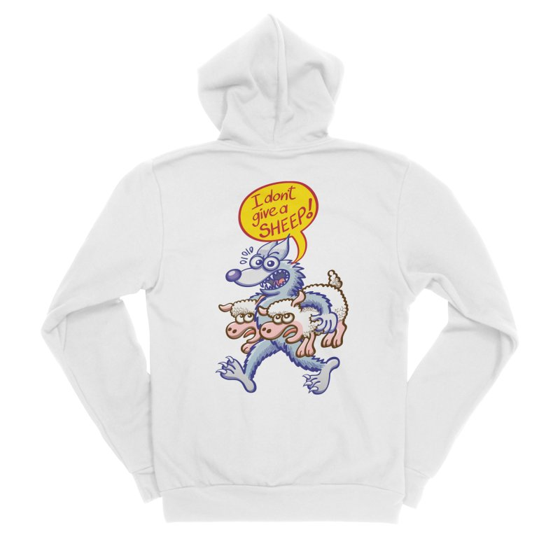 Terrific wolf making puns by saying that he doesn't give a sheep Women's Zip-Up Hoody by Zoo&co's Artist Shop