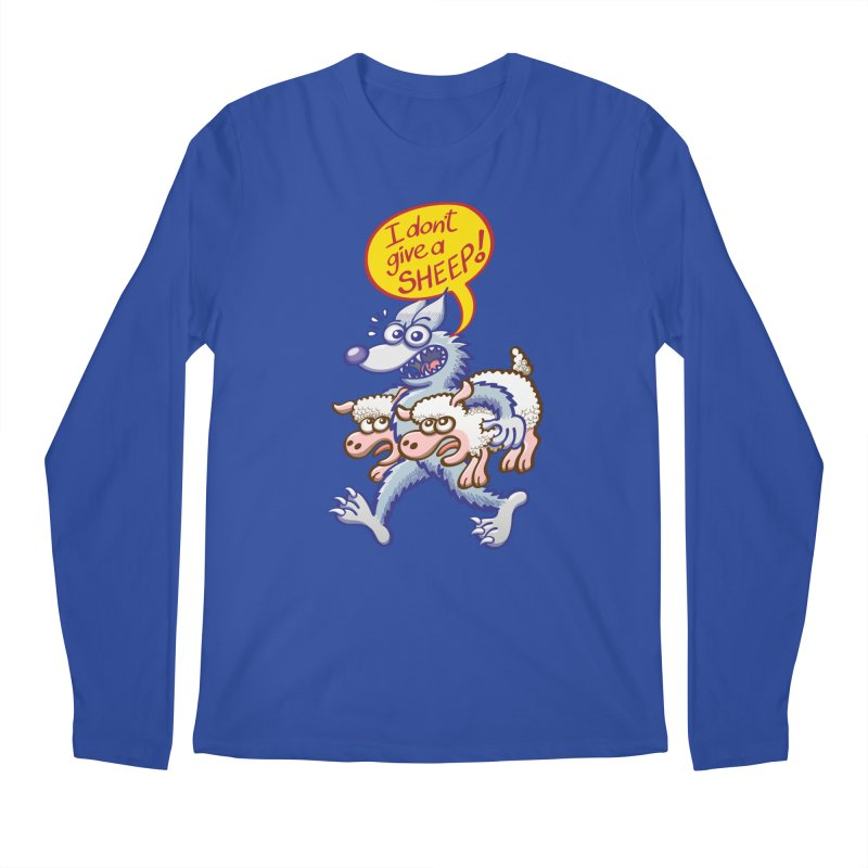 Terrific wolf making puns by saying that he doesn't give a sheep Men's Longsleeve T-Shirt by Zoo&co's Artist Shop