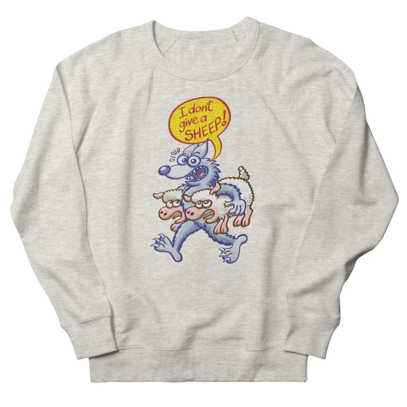 Terrific wolf making puns by saying that he doesn't give a sheep Men's Sweatshirt by Zoo&co's Artist Shop