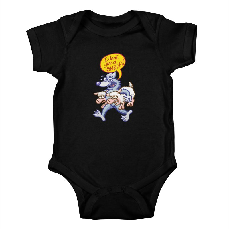 Terrific wolf making puns by saying that he doesn't give a sheep Kids Baby Bodysuit by Zoo&co's Artist Shop
