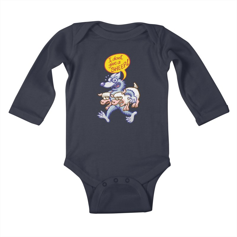 Terrific wolf making puns by saying that he doesn't give a sheep Kids Baby Longsleeve Bodysuit by Zoo&co's Artist Shop
