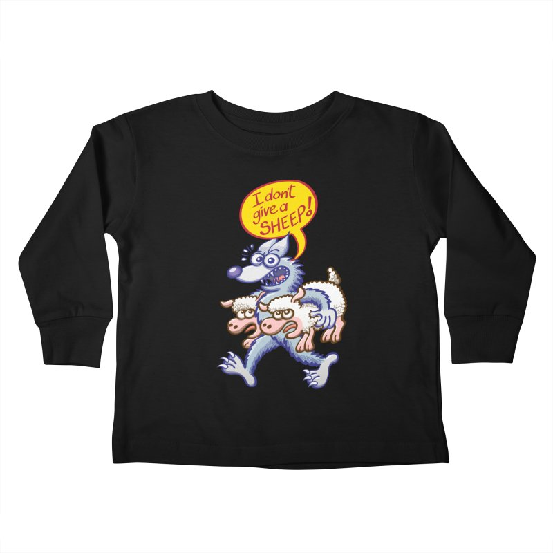 Terrific wolf making puns by saying that he doesn't give a sheep Kids Toddler Longsleeve T-Shirt by Zoo&co's Artist Shop