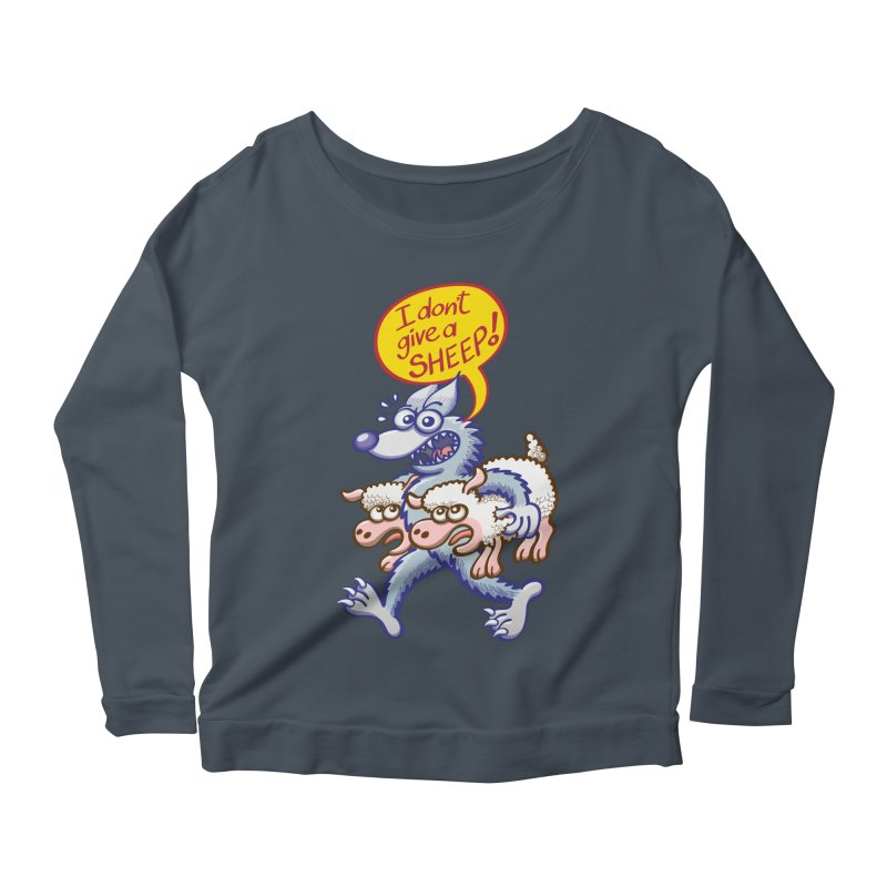 Terrific wolf making puns by saying that he doesn't give a sheep Women's Longsleeve T-Shirt by Zoo&co's Artist Shop