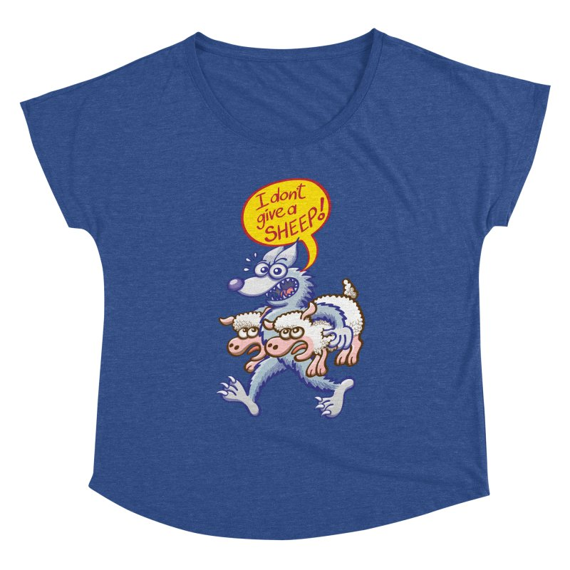 Terrific wolf making puns by saying that he doesn't give a sheep Women's Scoop Neck by Zoo&co's Artist Shop