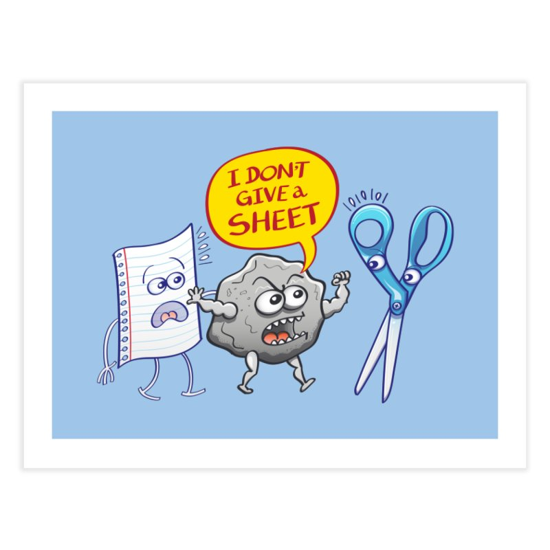 Angry rock doesn't give a sheet of paper to scissors Home Fine Art Print by Zoo&co's Artist Shop