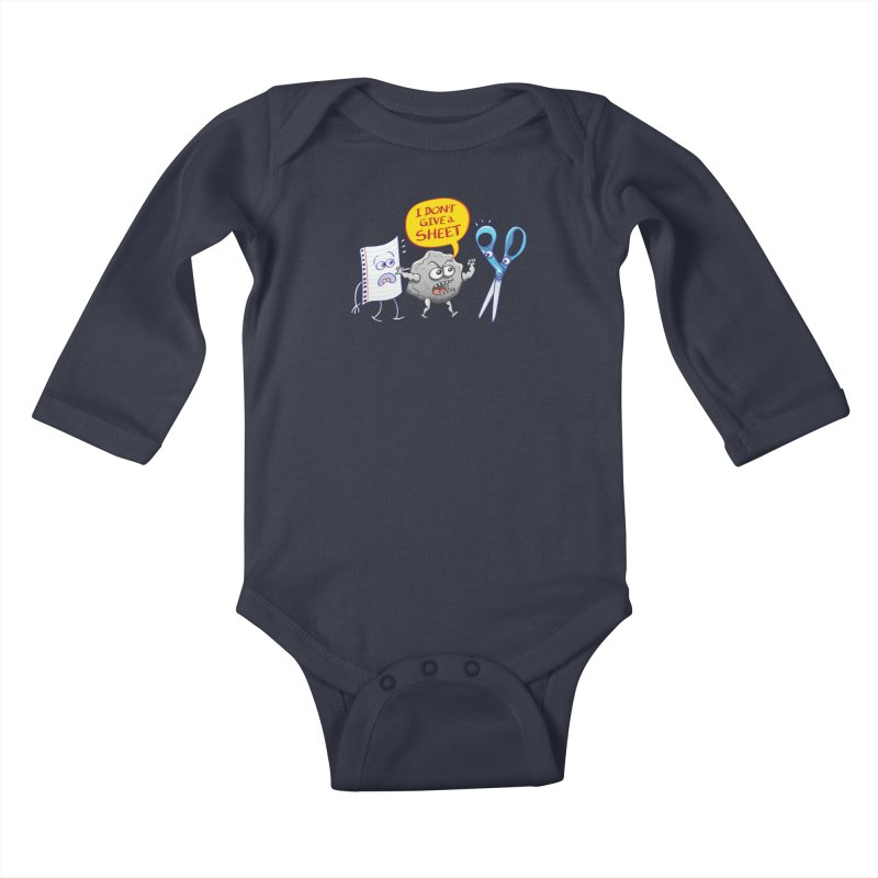 Angry rock doesn't give a sheet of paper to scissors Kids Baby Longsleeve Bodysuit by Zoo&co's Artist Shop