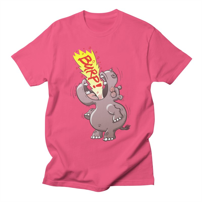 Bold chubby hippopotamus burping loudly with no shame at all Men's T-Shirt by Zoo&co's Artist Shop
