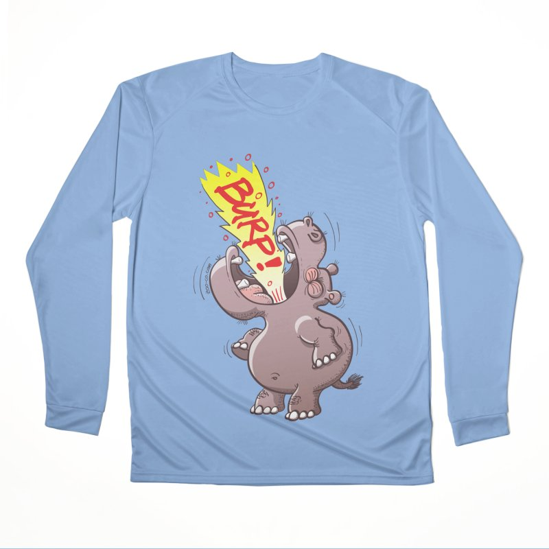 Bold chubby hippopotamus burping loudly with no shame at all Women's Longsleeve T-Shirt by Zoo&co's Artist Shop