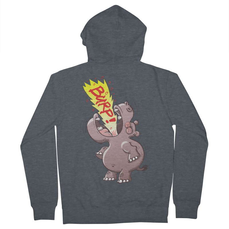 Bold chubby hippopotamus burping loudly with no shame at all Men's Zip-Up Hoody by Zoo&co's Artist Shop