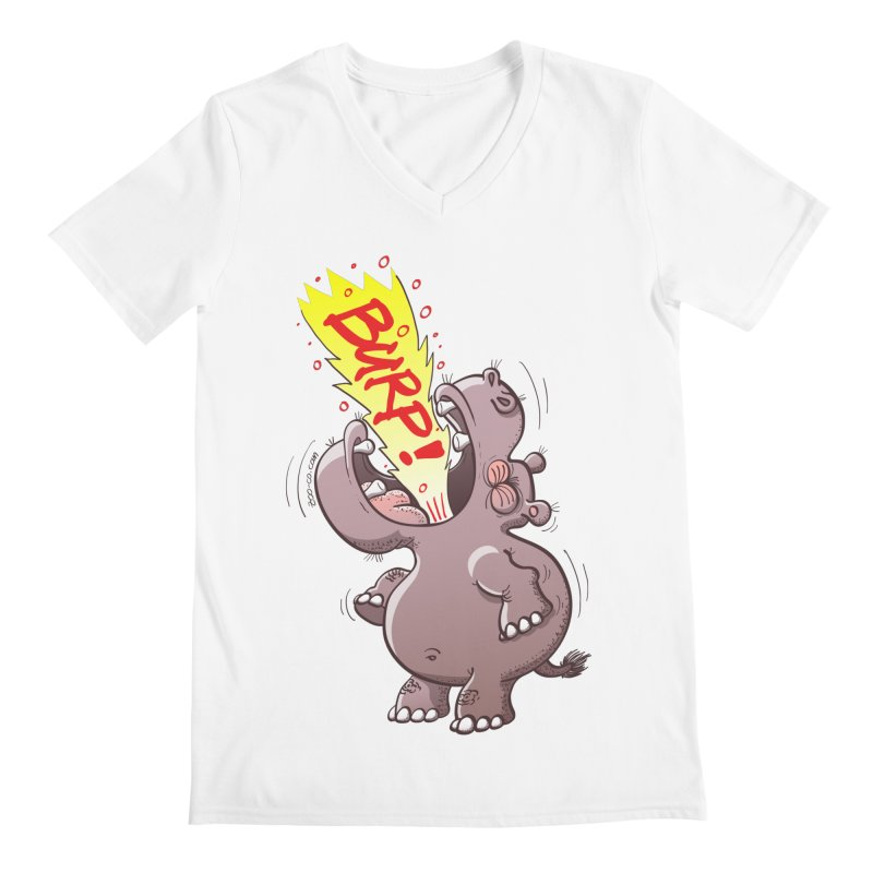 Bold chubby hippopotamus burping loudly with no shame at all Men's V-Neck by Zoo&co's Artist Shop