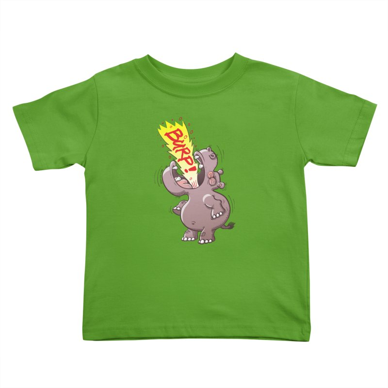 Bold chubby hippopotamus burping loudly with no shame at all Kids Toddler T-Shirt by Zoo&co's Artist Shop