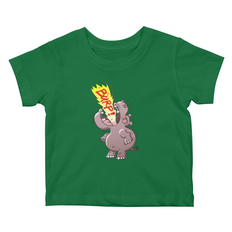 Bold chubby hippopotamus burping loudly with no shame at all Kids Baby T-Shirt by Zoo&co's Artist Shop