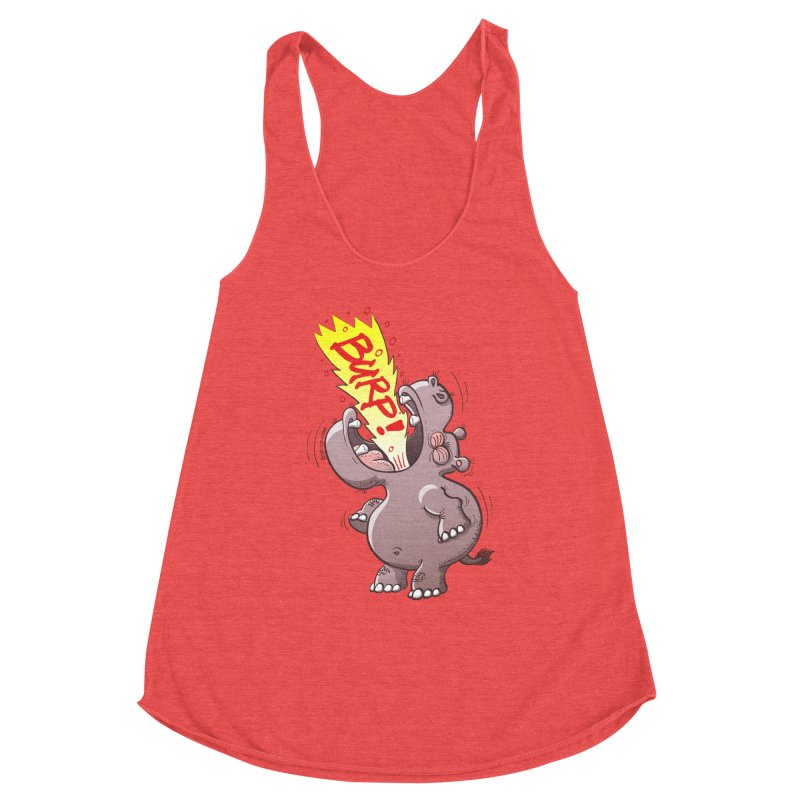 Bold chubby hippopotamus burping loudly with no shame at all Women's Tank by Zoo&co's Artist Shop