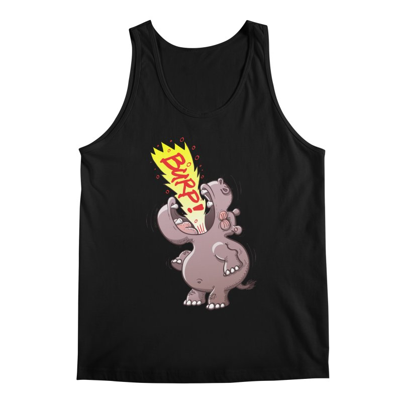 Bold chubby hippopotamus burping loudly with no shame at all Men's Tank by Zoo&co's Artist Shop