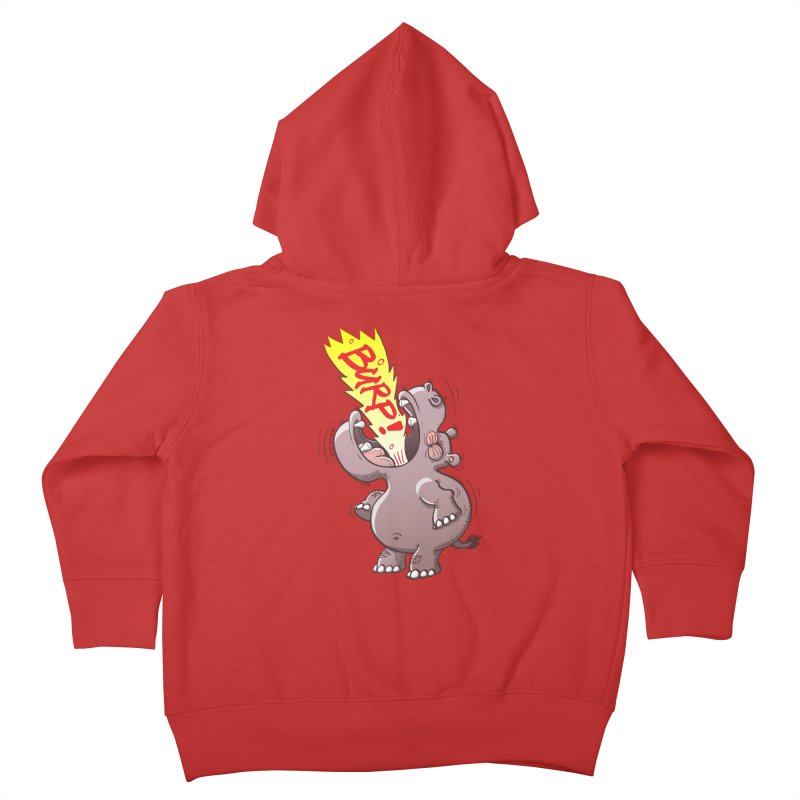 Bold chubby hippopotamus burping loudly with no shame at all Kids Toddler Zip-Up Hoody by Zoo&co's Artist Shop